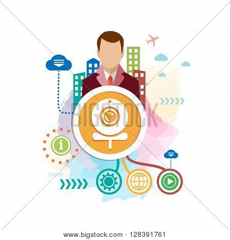Web Camera And Man On Abstract Colorful Background With Different Icon And Elements.