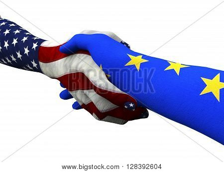 American Hand Shaking European Hand Isolated On White