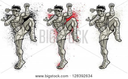 Illustration of Muay Thai fighter in 3 color versions.