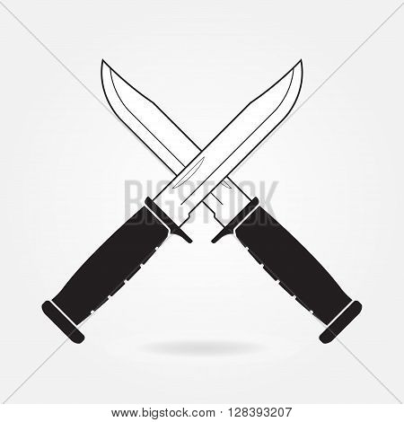 Knifes icon. Two crossed metallic military or army knives isolated on gray background. Vector illustration.