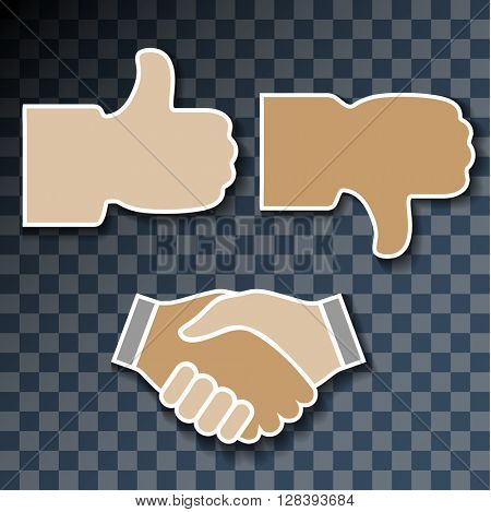 Icon hand. Signs with his hands, good, bad, handshake on transparent background. Vector Illustration