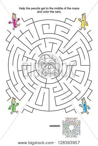Maze game for kids: Help the pencils get to the middle of the maze and color the cars. Answer included.