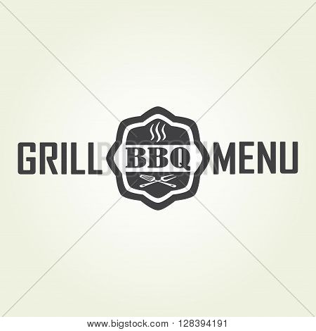 Grill menu design template. Grill or barbecue icon isolated on white background. Vector Illustration.