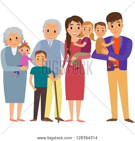 Big Family portrait. Happy family whith four children and grandparents