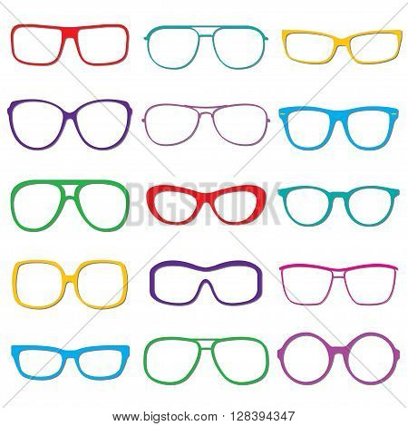 Glasses and sun glasses outline set isolated on white background. Colorful sun glasses silhouettes. Vector illustration.