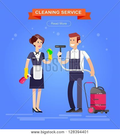 Poster design for cleaning service and supplies. Vector detailed character professional housekeeper. Cleaning kit icons