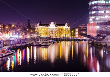 Canal Amsterdan colorful at night Europe Holand