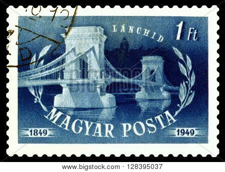 STAVROPOL RUSSIA - APRIL 28 2016: a stamp printed by Hungary shows Chain Bridge Budapest hundred years of opening circa 1949