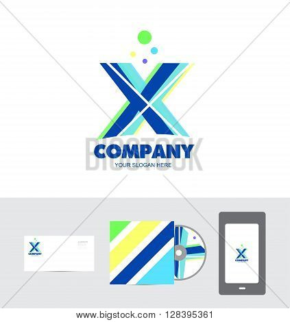Vector company logo icon element template pastel colors alphabet letter x cd cover extreme
