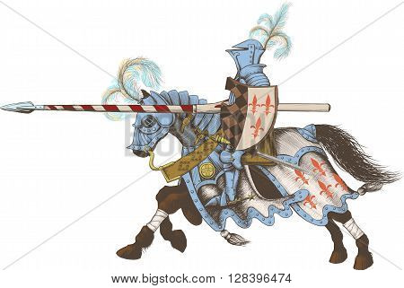 Horseback Knight of the tournament with a spear at the ready galloping towards the opponent