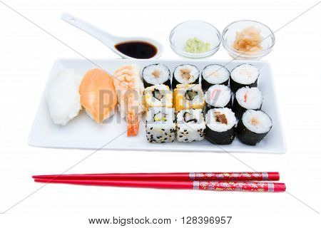 Tray of sushi on a white background