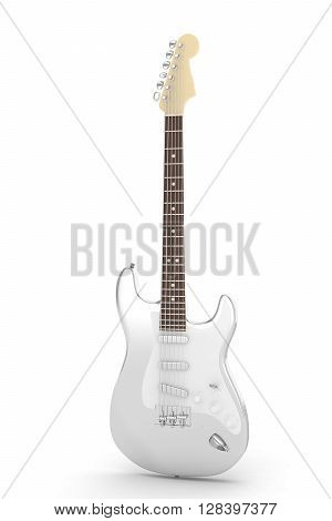 Isolated silver electric guitar on white background.  Musical instrument for rock, blues, metal songs. 3D rendering.