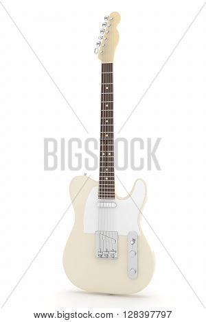 Isolated beige electric guitar on white background.  Musical instrument for rock, blues, metal songs. 3D rendering.
