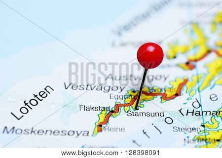 Stamsund pinned on a map of Lofoten Islands, Norway