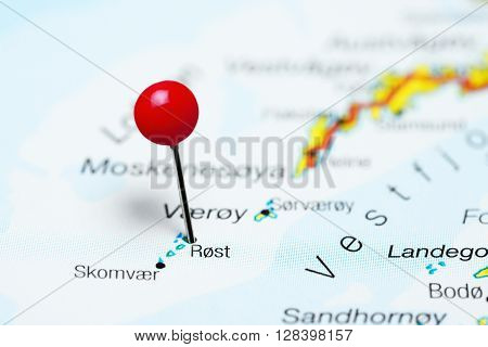 Rost pinned on a map of Lofoten Islands, Norway