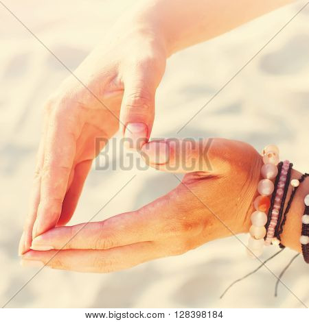 Hippie Human Woman Hand Form Heart Sand Beach Holiday Toned Sunshine
