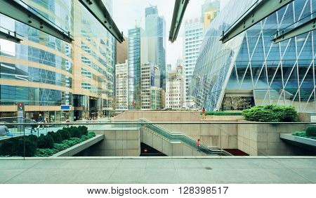 HONG KONG, CHINA - FEB 13, 2016: Many levels of urban scene with skyscrapers in downtown of business city on February 13, 2016. There are 1223 skyscrapers in Hong Kong.