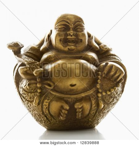 Happy laughing Buddha brass figurine on white background.