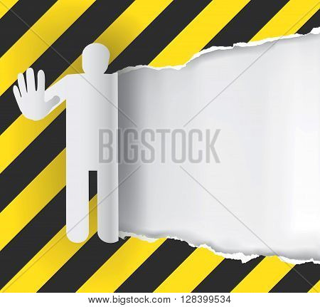 Ripped Paper background With Construction Sign with male silhouette gesturing stop. Vector available