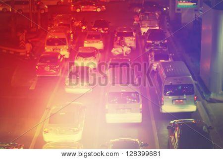 Defocused Road Big City Stopper Car Multy Toned