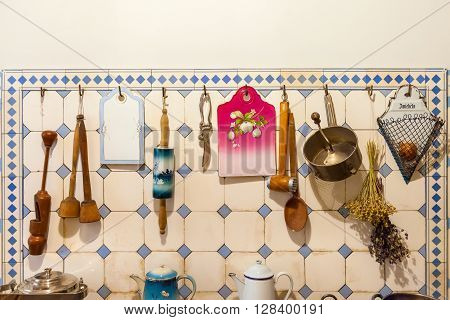 Riga Latvia 26 August 2015: Kitchenware on kitchen in apartment of Latvian architect Konstantins Pekshens in Art Nouveau Museum located at Alberta Street 12 in Riga Latvia.