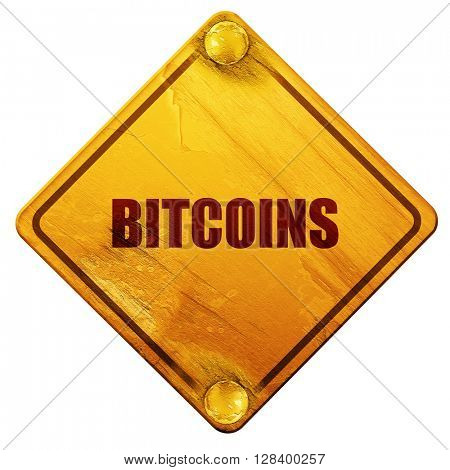 bitcoins, 3D rendering, isolated grunge yellow road sign
