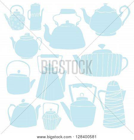 Set silhouette of a teapot. Twelve different teapots.