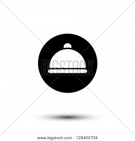 Vector white cloche icon isolated on black. Culinary and food design