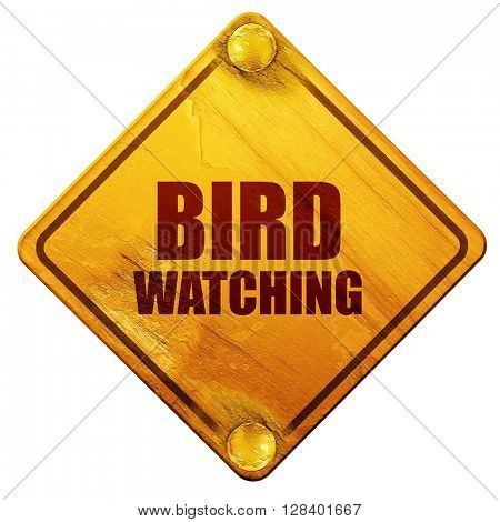bird watching, 3D rendering, isolated grunge yellow road sign
