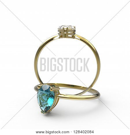 Wedding rings with diamonds. Fashion jewelry. 3d digitally rendered illustration