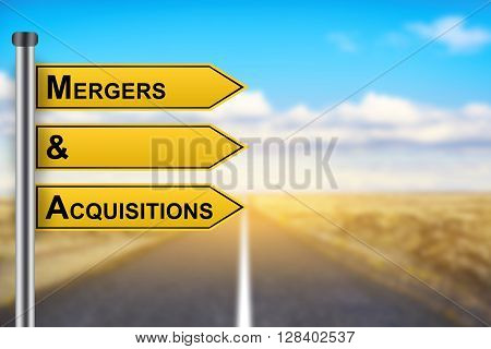 M&A or Mergers and Acquisitions words on yellow road sign with blurred background