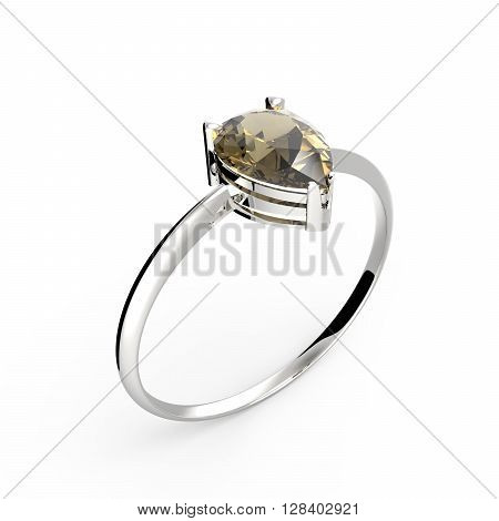 Wedding ring with diamond on a white background.  3D illustration