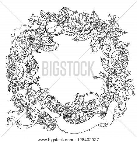 Uncolored, colouring book style luxury roses wreath in zenart style, heraldic cartouches for text Adult coloring book Hand-drawn, doodle, vector for design, wedding cards, coloring book