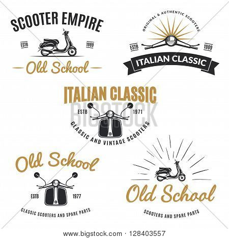 Set of classic scooter emblems icons and badges. Urban street scooter illustrations and graphics. Isolated scooter front and side view.