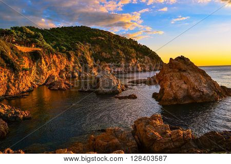 Sunrise on the cliff in Costa Brava