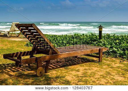 Recliner on the beach in Sri Lanka near Indian Ocean