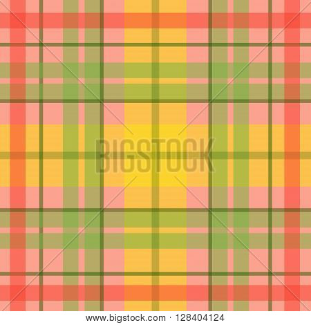 Vector seamless scottish tartan pattern in orange yellow green pink. British or irish celtic baby design for textile fabric or for wrapping backgrounds websites