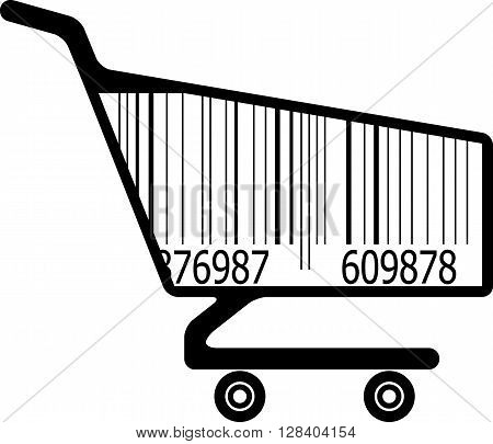 Shopping cart with bar code. Vector illustration
