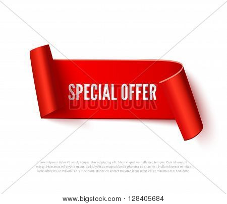 Red curved paper ribbon banner with paper rolls and inscription Special Offer isolated on white background. Realistic vector paper template for special promo and sale advertising. Curved ribbon on white with space for text
