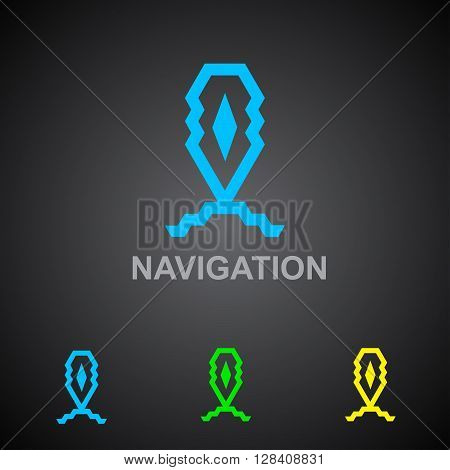 Business Icon - Vector logo design template. Abstract emblem for navigation, geo-location mapping pin, global positioning system navigation, geo targeting marker