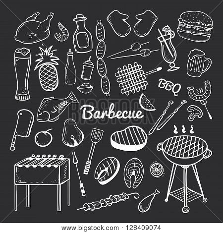 Vector hand drawn doodle of Grill and BBQ. Vector illustration of grill and BBQ stuff. Hand-drawn barbecue doodles on blackboard. Icons for web mobile and print. Barbecue logos and icons