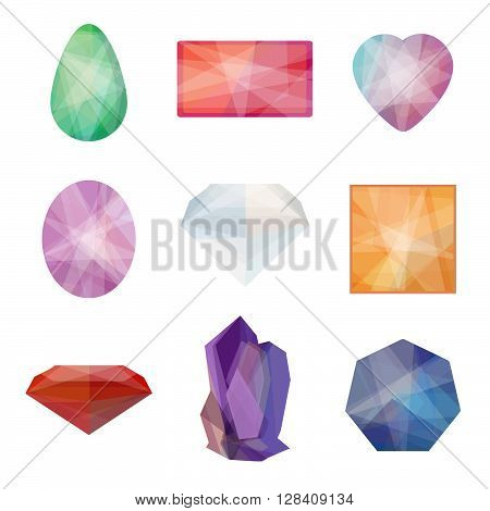 Set of gems in low polygon style. Vector illustration of gems for web mobile games company logos and brand design.