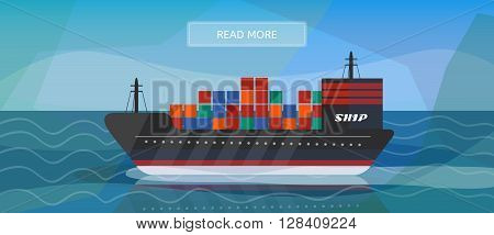 Logistic routes cargo ship banner. Logisticscargo ship banner for industry web and print. Flat style vector illustration of a cargo ship.