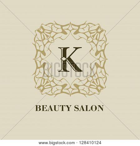 Monogram logo template with  calligraphic elegant ornament. Identity design with K letter