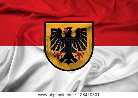 Waving Flag of Dortmund, with beautiful satin background.