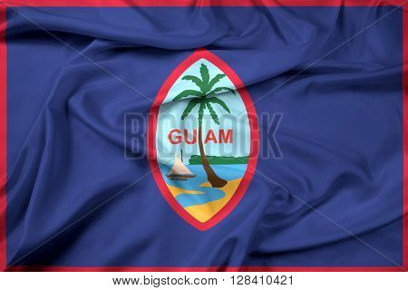 Waving Flag of Guam, with beautiful satin background.