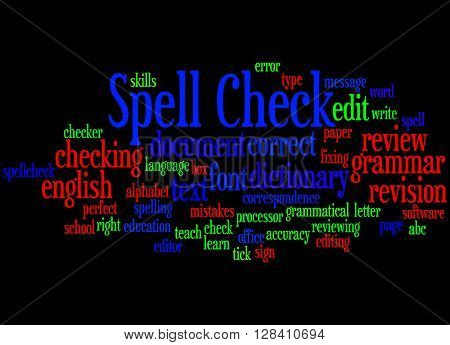 Spell Check, Word Cloud Concept 3