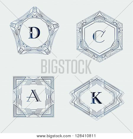 Monogram logo template with  calligraphic elegant ornament. Identity design with letter D, C, A, K