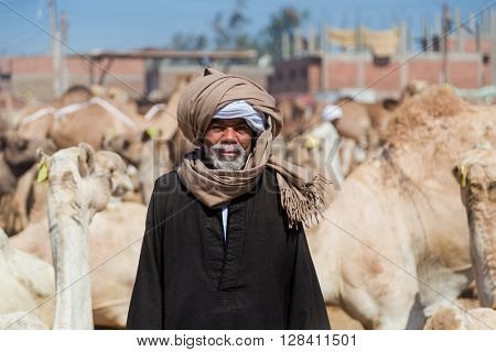 DARAW, EGYPT - FEBRUARY 6, 2016: Portrait of local camel salesman on Camel market.