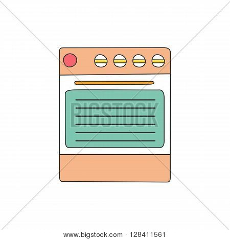 Vector illustration with isolated flat line kitchen stove on white background. Home kitchen appliance. Indoor line kitchen design. Cooking equipment concept. Modern kitchen line object. Vector stove